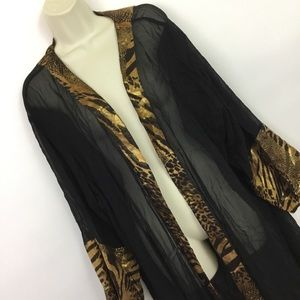 VTG 80s Sheer gold animal print robe
